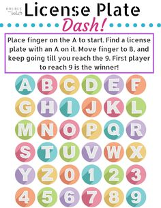 license plate dash travel printable car travelbusiness travelprintable games for kidstrip