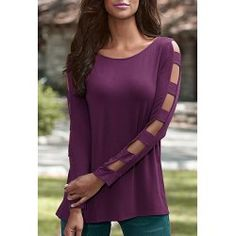 Stylish Slash Collar Off-The-Shoulder Long Sleeve Solid Color Lace Women's T-Shirt | NastyDress.com