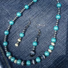 If you love the color blue, you're gonna LOVE this blue bead necklace & earring set designed & crafted by Jay. Perfect holiday gift or stocking stuffer for wife, mom, daughter or sister. More bead creations by Jay in our shop now, so stop by.