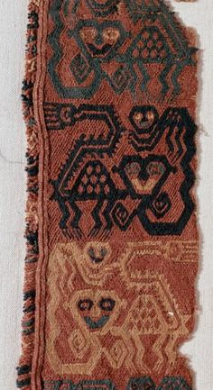 Fabric strip with cats and kittens. c. 500-200 BCE - Paracas culture, an important Andean society in Peru between approximately 800 BCE and 100 BCE, with an extensive knowledge of irrigation and water management.