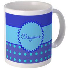 Turquoise Blue Polka Dot Personalized Mugs on CafePress.com