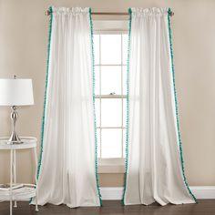 Lush Decor Linen Pom Pom Curtain Panel Pair