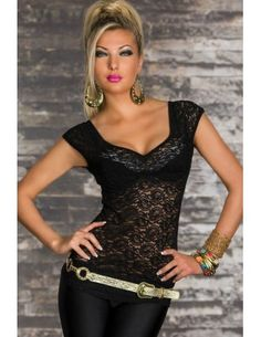 Black Visible Lace Front Club Top Features See-through lace front detail with short sleeves. Sexy mild sweetheart neckline smartly reveal your deep cleavage and clavicle. Wear this lovely top with Jeans, Shorts or a mini skirt for an ultimate finish.  Cute, Fun and Flirty Combined.