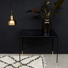 Ox Grey Iron Side Table 60x60cm, Black/Brass £229. - RoyalDesign.co.uk