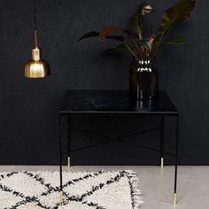 Ox Grey Iron Side Table 60x60cm, Black/Brass £229. - RoyalDesign.co.uk
