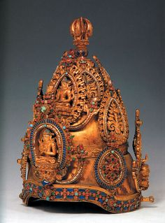 """Crown from gilded copper with turquoise, rock crystal, ruby, and pearl inlays.  From the """"Tibet: Treasures from the Roof of the World"""" traveling exhibition.  Nepal. c.1000-1200. Potala Palace."""