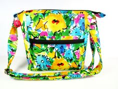 Artful Flowers Handmade Fabric Purse / Cross Body Handbag / Matching Glass Case by DarlingsDesigns on Etsy