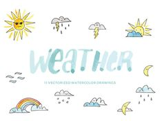 Weather icons: sun, clouds, rain, rainbow and more- Hand-painted watercolor digital clip art PNG & vector