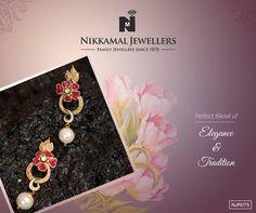 A perfect blend of Elegance & Tradition! Buy this beautiful pair of earrings at Nikkamal Jewellers, Ludhiana & Jalandhar Showrooms! #Nikkamaljewellers #gold #diamond #polki #kundan #platinum #watches