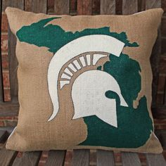 Michigan State Spartans hand painted burlap pillow by HavenByLaura on Etsy Michigan State University, Michigan State Spartans, Msu Spartans, Painting Burlap, East Lansing, Burlap Pillows, Hand Painted, Painted Rocks, Pillow Covers