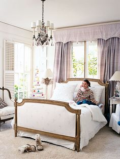 bed in front of window - love window treatment