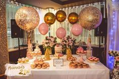 Event Inspiration, baby pink, gold, fun and glitter for a Birthday party! 21st Party, Gold Birthday Party, Golden Birthday, Birthday Balloons, Gold Party, 25th Birthday Parties, 21st Bday Ideas, 21st Birthday Decorations, Graduation Party Decor