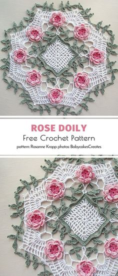 Rose Doily Free Crochet Pattern Oh, there is so much goodness here! We simply can't take our eyes off this stunning doily. The delicacy, the lacework, the colors inspired by mother nature herself. Free Crochet Doily Patterns, Crochet Motif, Crochet Designs, Hand Crochet, Crochet Doily Diagram, Crochet Coaster, Free Pattern, Crochet Tablecloth Pattern, Tatting Patterns