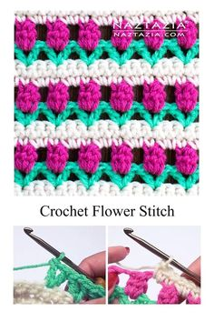 How to Crochet the Flower Stitch Rose Buds and Tulips by Donna Wolfe from Naztazia Crochet Flower Stitch M.S bjmykids Crochet How to Crochet the Flower Stitch Rose Buds and Tulips by Donna Wol Crochet Stitches Patterns, Crochet Designs, Knitting Patterns, Unique Crochet Stitches, Free Crochet Flower Patterns, Crochet Accessories Free Pattern, Crochet Shell Pattern, Different Crochet Stitches, Christmas Crochet Patterns