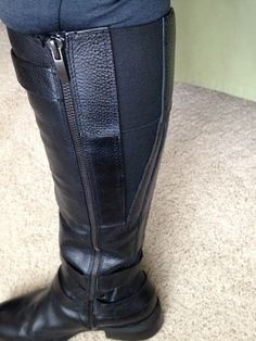 adding an elastic gusset to tall leather boots - clever!
