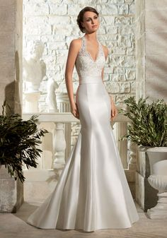 Shop Morilee's Larissa Satin with Crystal Beading on Alencon Lace Morilee Bridal Wedding Dress. Wedding Dresses and Bridal Gowns by Morilee designed by Madeline Gardner. Dreamy lace and Satin perfectly compliment each other on this sheath Bridal Dress. Bridal Wedding Dresses, Wedding Dress Styles, Lace Wedding, Trendy Wedding, Mori Lee Bridal, Mermaid Dresses, Prom Dresses, Cheap Dresses, The Dress