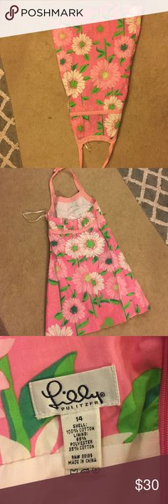 kids halter dress pink with white flowers halter kids dress Lilly Pulitzer Dresses