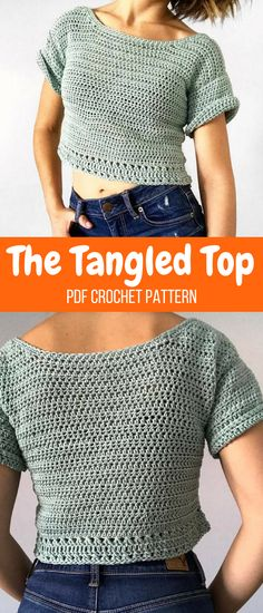 The Tangled Top crochet pattern. You can make it into a crop top or a standard length. #crochettop #ad #pattern #croptop