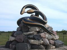 S-s-sam and S-s-sara, the garter snake statue in Inwood, Manitoba. A tribute to the Narcisse Snake Dens, the largest concentration in the world of this particular type of snake Reptiles, Types Of Snake, Canada Pictures, Discover Canada, Canadian Things, Canada 150, Canadian History, Animal Statues, Roadside Attractions