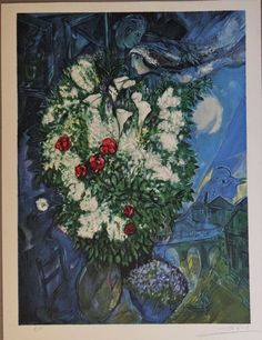 Collectable Poster Print by Marc Chagall, Marc Chagall, Chagall Paintings, Framed Artwork, Wall Art, Surrealism Painting, Art Prints For Sale, Bouquet, Art Graphique, Sale Poster