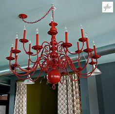 Frugal Home Design: Colorful Chandelier Makeover Dining Room Lighting, Chandelier Lighting, Brass Chandelier, Chandelier Ideas, Hallway Lighting, House 2, Spray Painted Chandelier, Skandinavisch Modern, Chandelier Makeover