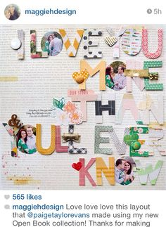 Love this page by Paige Evans using Maggie Holmes's Open Book collection!!