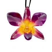 Real Orchids Preserved in Resin-Yellow/Purple-Dendorbium Necklace/Brooch $45