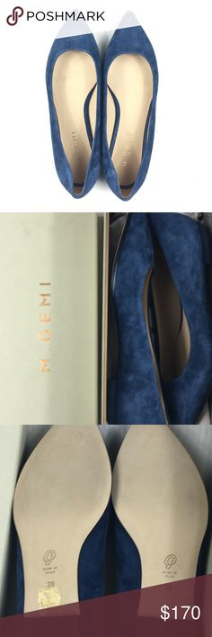 M. Gemi The Contornino Blue Suede Flats Size 39 Size: 39 (8.5) Color: Black Patent Leather  Condition: New with original box with dust bag.   Purchased from a sample sale in NYC. Shoes are brand new but may have slight wear on soles from in-store try ons. Box may also have wear from handiling. M. Gemi Shoes Flats & Loafers
