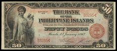 1928 Fifty Pesos Note, The Bank of the Philippine Islands Philippine Peso, Filipiniana, Gold Money, Vintage Photos, Philippines, Projects To Try, Notes, World, Paper