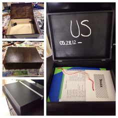Memory Box I made for my boyfriend as a 2nd anniversary gift. I bought the wooden box at Michaels, stained it, added some silver touches with a silver sharpie, and filled it with photos and memories!