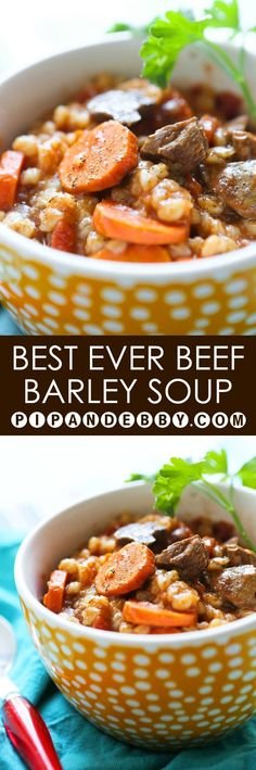 Best EVER Beef and Barley Soup | Look no further for the absolute best beef barley soup recipe! Perfect for a fall or winter dinner. #beeffoodrecipes