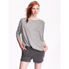Old Navy Womens Seamed Tee ($20) ❤ liked on Polyvore featuring tops, t-shirts, grey, petite, grey crew neck t shirt, jersey t shirts, long sleeve t shirts, grey long sleeve t shirt and crewneck tee