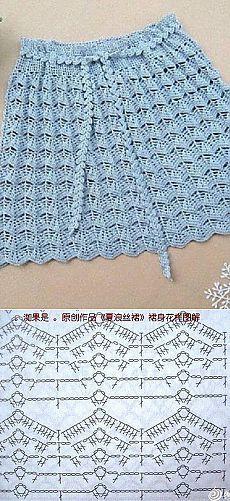 Patrón de la falda de ganchillo