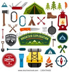Set of camping equipment symbols and icons by Mike McDonald, via Shutterstock