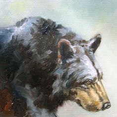 This little original 8 x 8 inch oil is part of a set of three bear paintings that I did together. They look great together or separate. This painting is unframed and painted panel. Please see the framed option above if you would like to purchase it framed. I am happy to work with you to in the frame selection.    To see another of these little bear paintings please see the listing below…