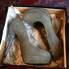 """New """"Legacy""""Grey Suede Luchiny 5"""" Heels PRICE CUT! Medium gray suede 5 inch pump worn once. Bought these for a blind date that never showed up. Screw him and these shoes! $99 new. Size 8 Luchiny  Shoes Heels"""