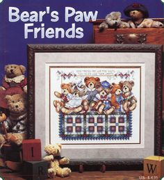 Gently used cross stitch pattern booklet - BEARS PAW FRIENDS - Stoney Creek 96  This is a large fold out pattern. Design area is approximately