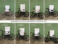 On 3/24/2020, the RCPD located 18 bicycles, some of which have been reunited with their owners. We are attempting to identify the rightful owners of these remaining bicycles. If you believe one of these is yours, please contact mmondragon@redwoodcity.org, provide the number of the bicycle and be prepared to provide proof of ownership. Thanks! Bicycles, Police, Number, City, Cities, Law Enforcement, Bike, Bicycle, Biking
