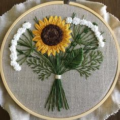 flora embroidery by rachel on Hand Embroidery Videos, Floral Embroidery Patterns, Embroidery Flowers Pattern, Hand Embroidery Stitches, Learn Embroidery, Embroidery Hoop Art, Crewel Embroidery, Hand Embroidery Designs, Ribbon Embroidery
