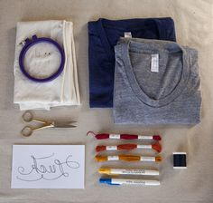 Embroidery 101: Luck On My Side T-Shirt (Backstitch) - i would use another word but this is a cute idea!