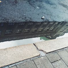 Reflection in puddle. Arcitecture.