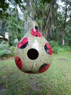 Hand Painted Gourd Ladybug Birdhouse by MarysMerriments on Etsy Decorative Gourds, Hand Painted Gourds, Victorian Dollhouse, Modern Dollhouse, Lady Bug, Ladybug Crafts, Gourds Birdhouse, Bird Houses, Doll Houses