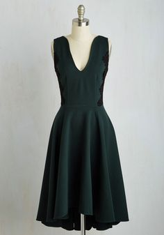 Mesmerizing Melody Dress - Green, Black, Solid, Wedding, Cocktail, Bridesmaid, Fit & Flare, Sleeveless, Woven, Better, Mid-length