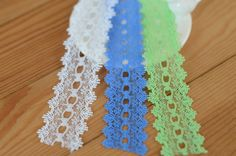 3cm US $0.55 x 20 meters # Lace Trim Wholesale [US $0.56 x 30 Meters # Dream Lace http://www.aliexpress.com/store/product/Hollow-Embroidery-Lace-Trim-4-Colors-3-3cm-Wide-30-Meters-DIY-Craft-Great-For-Tee/410732_32225777625.html]