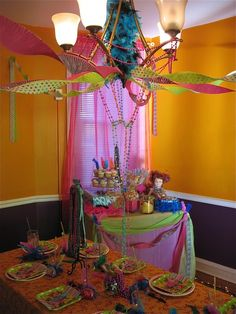 Use Happy Birthday Banners from chandelier to walls. Mix n match in same color scheme.
