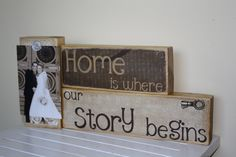 Home is where our Story Begins saying on decorative wooden blocks home decoration. $30.00, via Etsy.