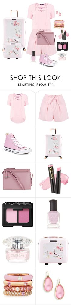 """""""Weekend Getaway"""" by chauert ❤ liked on Polyvore featuring Boohoo, Converse, Ted Baker, Lodis, NARS Cosmetics, Deborah Lippmann, Versace, Adolfo Courrier and Alexis Bittar"""
