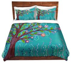 Duvet Cover Twill - Happy Tree - contemporary - Duvet Covers And Duvet Sets - DiaNoche Designs