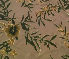 "Green Asian Floral - Burnout Silk Velvet (9""x10"")"