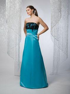 Satin Strapless Belt Bodice Ball Gown Bridesmaids Dress